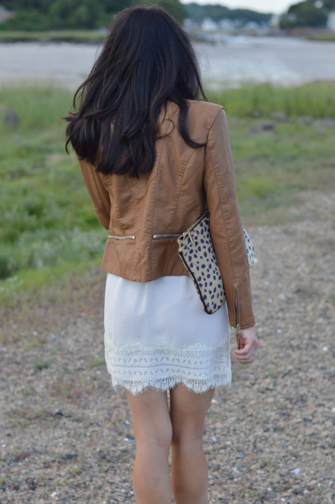 Cream Lace Dress & Leather Jacket by Boston fashion blogger Living Life Pretty
