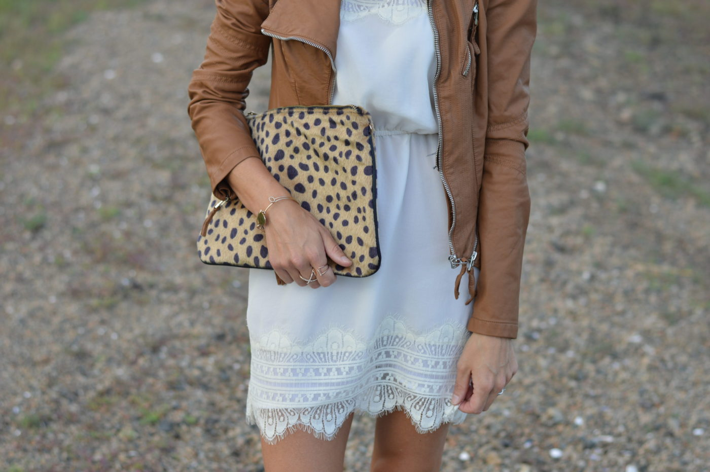 Cream Lace Dress & Leather Jacket