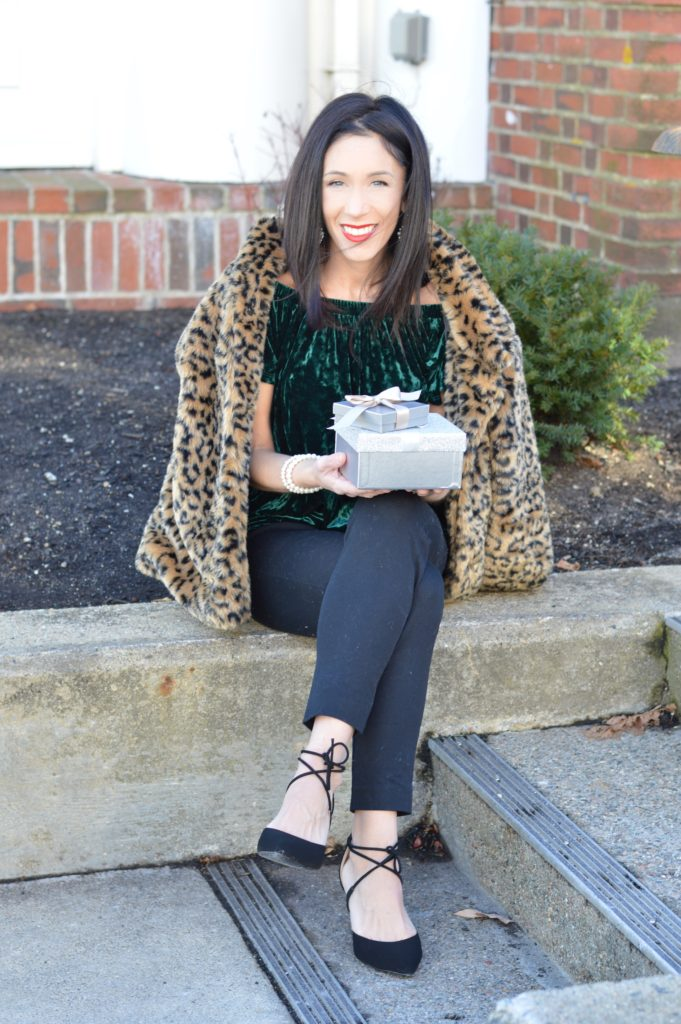 Rocking Around the Christmas Wardrobe with this Green Velvet Top by Boston fashion blogger Living Life Pretty