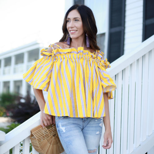 styling my favorite off the shoulder top for summer.