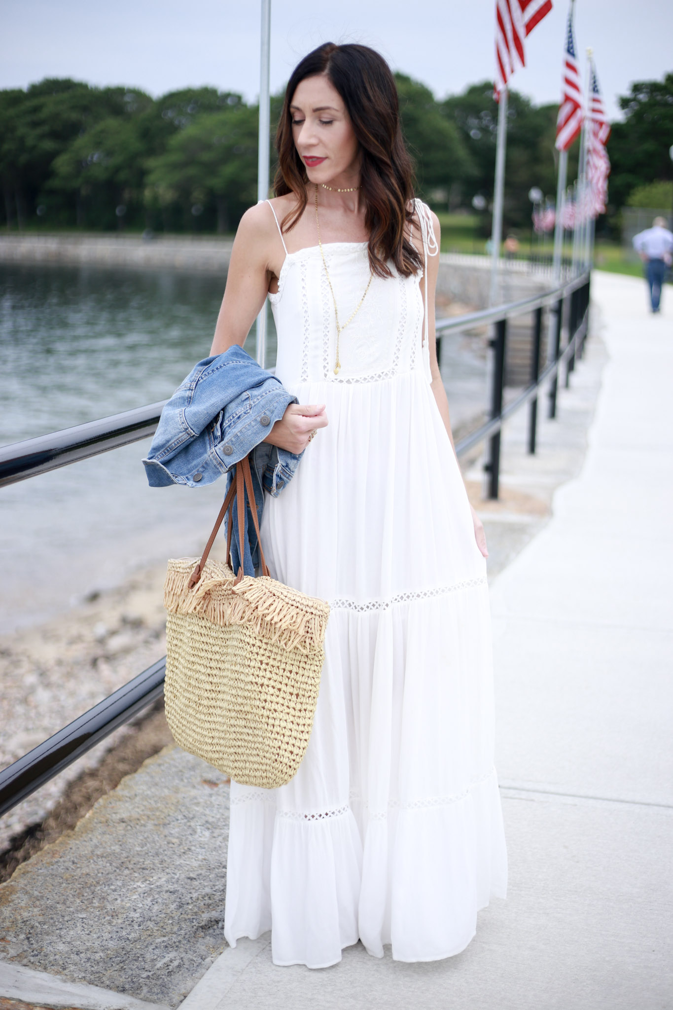 easy fourth of july looks. Simple white maxi outfit
