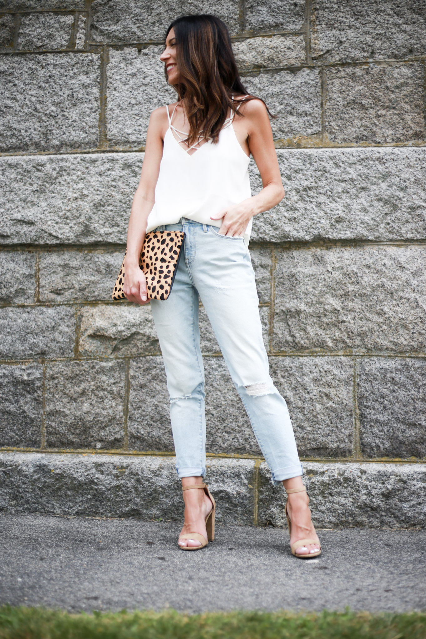 How to Style Girlfriend Jeans for a Date Night Look by Boston fashion blogger Living Life Pretty