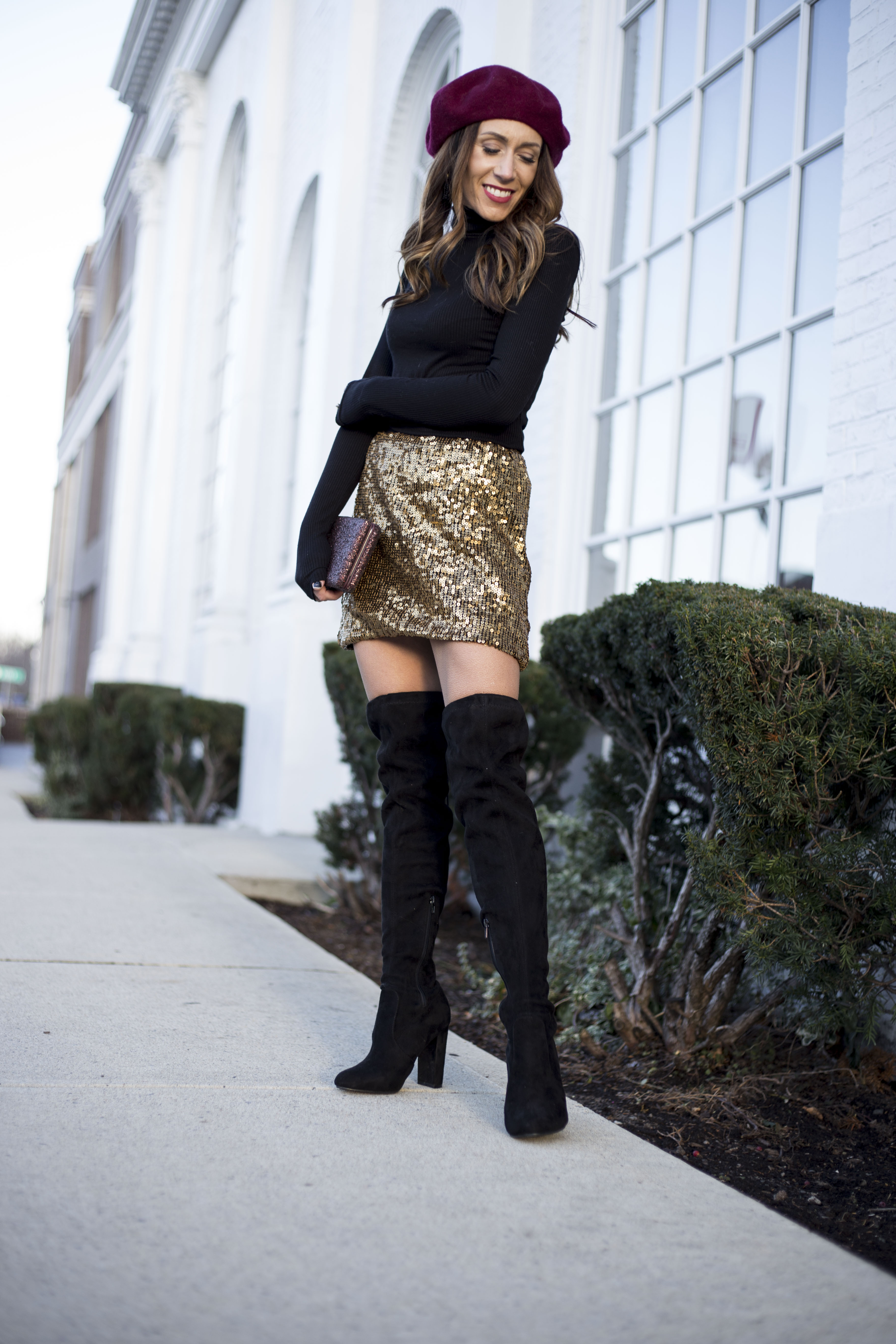 Sequin mini skirt for the Holidays by Boston fashion blogger Living Life Pretty